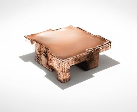 Nucleo, Metal Fossil Copper coffee table